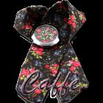 Orologio nero con trama floreale rose rosse colore caffe