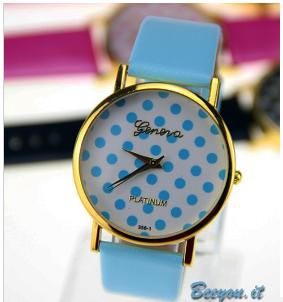 orologio geneva a pois azzurri su sfondo bianco cinturino azzurro celeste dorato