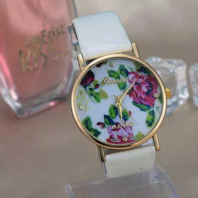 orologio donna geneva fiori bianco vintage