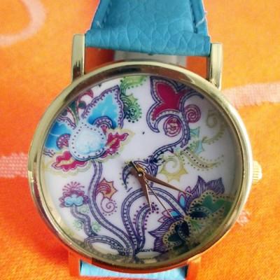 orologio donna geneva fiori azzurro