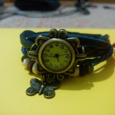 Orologio Bracciale Fashion Vintage Pelle Farfalla Blu