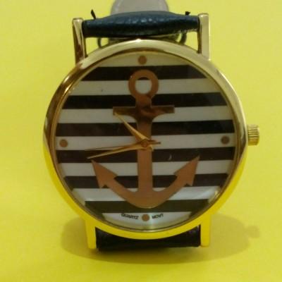 Orologio Donna Geneva Anchor Ancora Righe Nero Orologio femminile con quadrante rotondo con un'ancora dorata su uno sfondo di reghe orizzontali Bianche e Nere