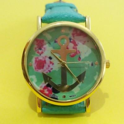 Orologio Donna Geneva Anchor Ancora Fiori Mint Orologio femminile con quadrante rotondo con un'ancora dorata su uno sfondo con un disegno floreale rosa verde Marino
