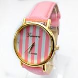 Elegante orologio da donna Geneva righe rosa