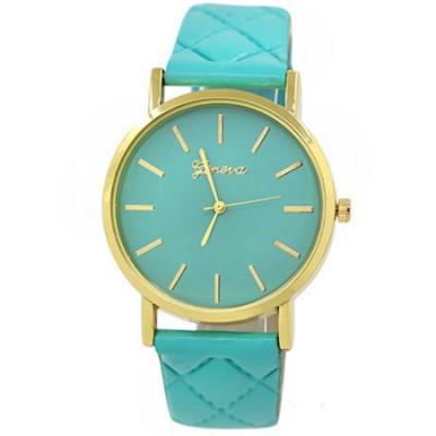 Elegante orologio Geneva classico con cinturino rombi verde menta