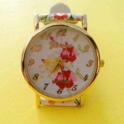 Orologio Donna Geneva Cinturino decorato a Fiori Arancione