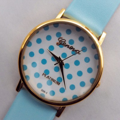 Elegante orologio da donna Geneva Pois Azzurro