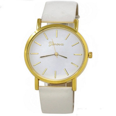 Elegante orologio Geneva classico con cinturino rombi bianco