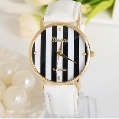 Elegante orologio da donna Geneva righe bianco