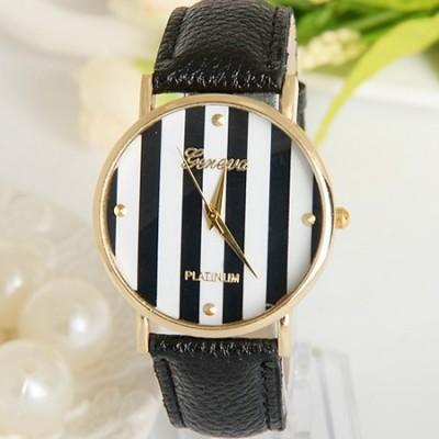 Elegante orologio da donna Geneva righe nero