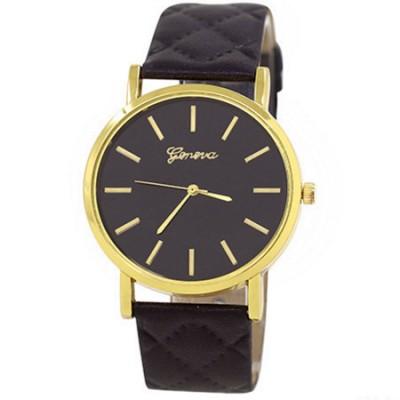Elegante orologio Geneva classico con cinturino rombi nero