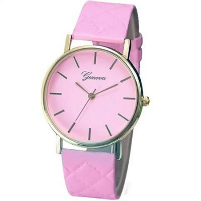 Elegante orologio Geneva classico con cinturino rombi rosa
