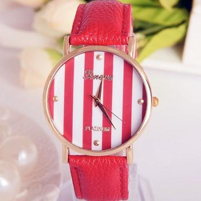 Elegante orologio da donna Geneva righe rosso